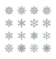 Thin line snowflake icons vector