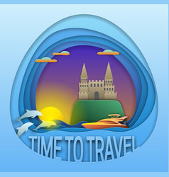 Time to travel emblem design sunset with motor vector