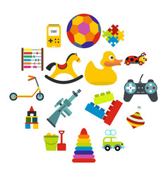 toys flat icons set vector image