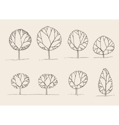 Trees sketch set vintage style hand drawn vector