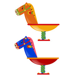 two rocking horses in different colors vector image