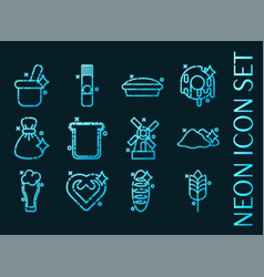 Wheat set icons blue glowing neon style vector