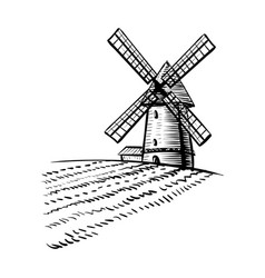 Windmill isolated on white background hand drawn vector