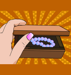 woman hand opening jewelry box close-up opens the vector image