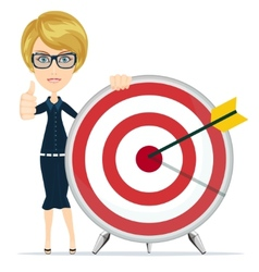 Woman showing victory sign holding a target with vector image