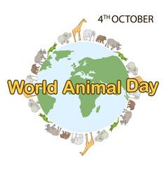 World animal day concept vector