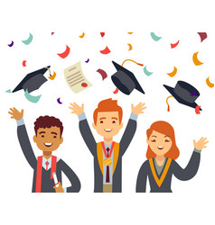 young happy graduates with graduate caps and vector image