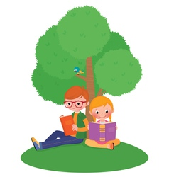 Children outdoors reading a book vector image