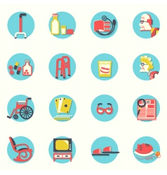 Flat iconsElderly people and objects for life vector image vector image