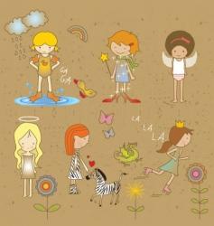 girls doodles vector image