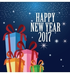 happy new year 2017 greeting card ed gift boxes vector image vector image