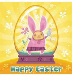 rabbit in Easter egg vector image vector image
