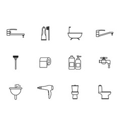 12 outline bathroom icons set vector image vector image