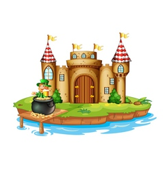 A castle with an old man inside a pot of coins vector image vector image