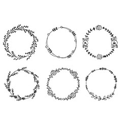 hand drawn wreaths design elements vector image vector image