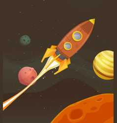 rocket ship flying through space vector image