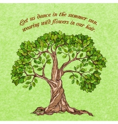 Summer tree poster vector image vector image