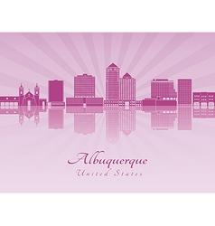Albuquerque skyline in purple radiant orchid vector image vector image