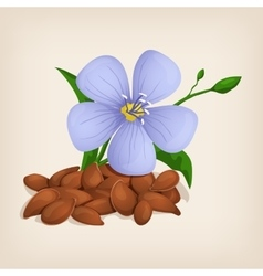 Brown flax seeds with flowers and leaves vector