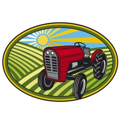 rural landscape with fields and tractor vector image