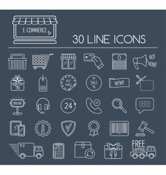 Set of e-commerce line icons Line icons for vector image vector image