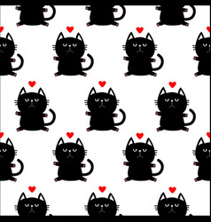 black sitting cat head with paw print and red vector image