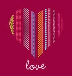 color ornamental heart post card vector image vector image