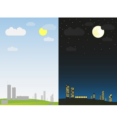 day and night in the city vector image