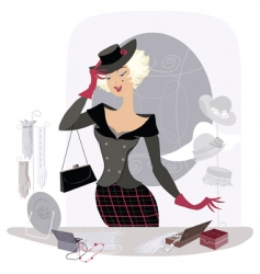 lady in vintage accessory shop vector image