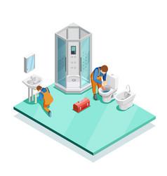 plumbers in modern bathroom isometric image vector image