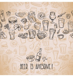 sketchy beer and snacks vector image