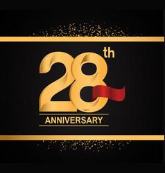 28 years anniversary logotype with premium gold vector