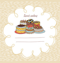 33 card with cakes on a background with hand-drawn vector