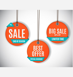 3d price sale label tags set vector image
