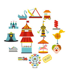 Amusement park flat icons set vector
