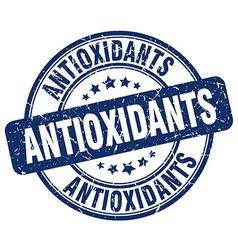 Antioxidants blue grunge round vintage rubber vector