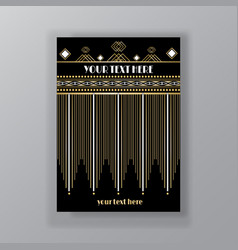 Art deco page template retro style for web and vector
