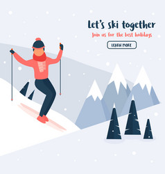 Banner with young skier mountain sports activity vector