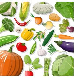 big vegetable isolated icon set vector image