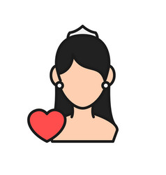 bride icon woman bridal with love graphic for vector image