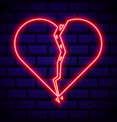 Broken heart neon light icon heartbreak glowing vector