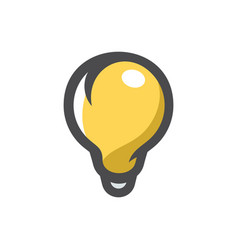 bulb yellow lightbulb icon cartoon vector image