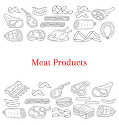 card template with different kinds meat vector image