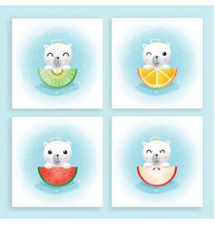 Cartoon cute bear and his fruits vector