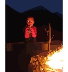cartoon man sitting by the campfire at night vector image
