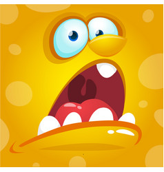 Cartoon scary yellow monster face vector