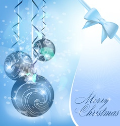 christmas balls on blue vector image vector image