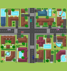 city block top view town street panorama with vector image