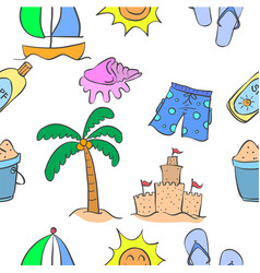 collection of summer theme pattern style vector image