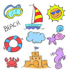 collection stock element summer doodles vector image